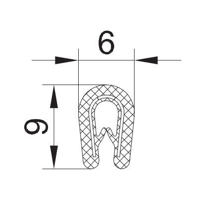 """PROFIL """"U"""" S KOVINO MALI 6x9 1mm-2mm"""