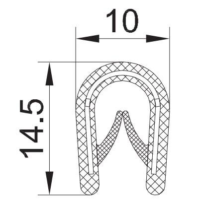 "PROFIL ""U"" KEDER VELIKI 10x14,5 1mm-4mm"