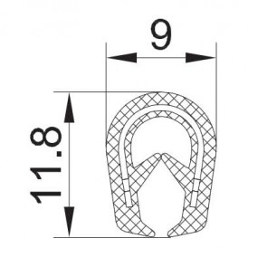 """PROFIL """"U"""" KEDER A2 051  11,8x9  za 1-3mm"""