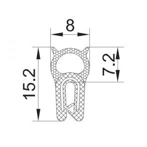 PROFIL GUMA+KOV. ZA PRTLJAŽNIK A2 544  15,2x8x7,2 za 0,5-1,5mm